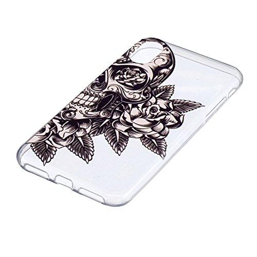 iPhone X Hülle Totenkopf Premium Handy Tasche Schutz Transparent Schale Für Apple iPhone X / iPhone 10 (2017) 5.8 Zoll Mit Zwei Geschenk