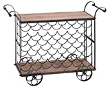 Deco 79 Metal Wood Wine Trolley, 40 by 31-Inch