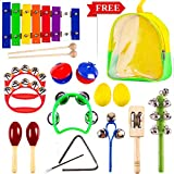 Kids Mini Band Musical Instruments Set, Wooden Percussion Bells Maracas Rhythm Xylophone Educational Learning Toys, Birthday Gifts for Age 1, 2, 3, 4, 5, 6, 7 Year Olds Girls Boys Toddlers