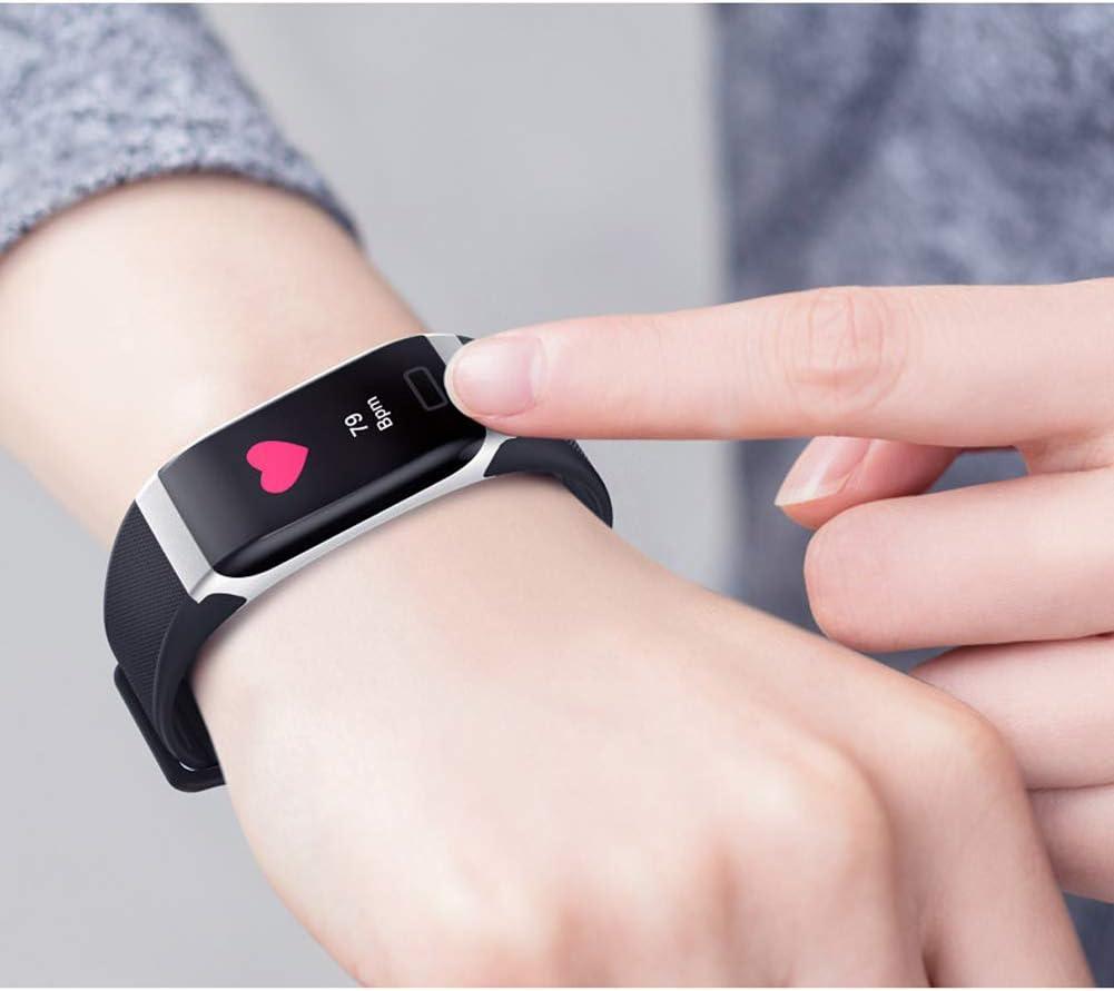 YHDQ Contapassi, Orologio Sportivo Tracker attività con Pressione arteriosa e Monitor del Sonno, contacalorie Intelligente-Black black