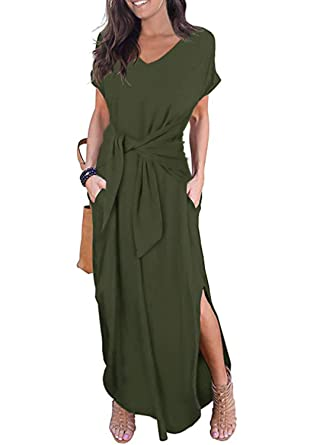 400098211 CANIKAT Womens V Neck Tie Front Long Dress Casual Loose Short Sleeve Solid  Split Maxi Dresses