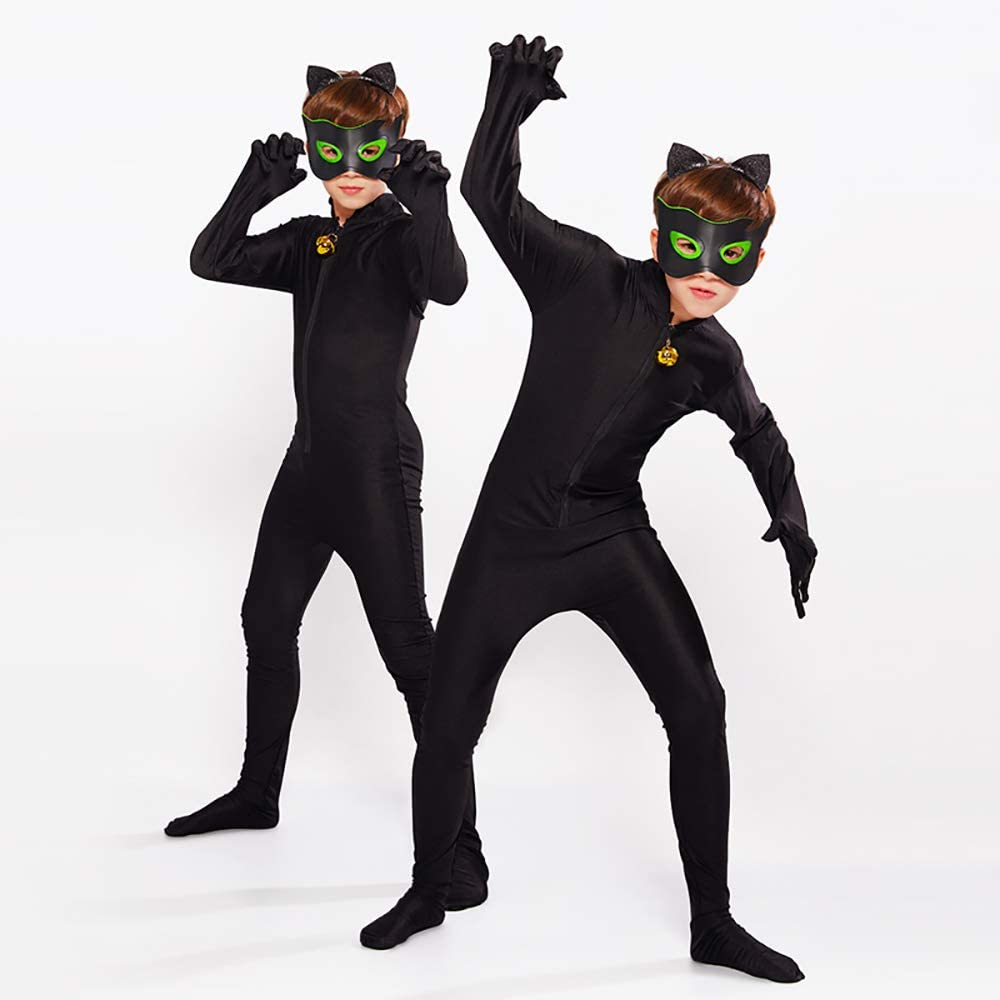 ALBRIGHT Kids Festivo Jumpsuit Cat Noir Cosplay Disfraces Fiesta ...