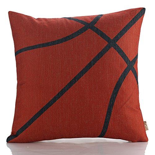 HT&PJ Decorative Cotton Linen Square Throw Pillow Case Cushion Cover Basketball Design 18 x 18 Inches
