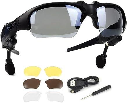 Bluetooth Gafas de Sol con audífonos estéreo inalámbricos Auriculares con 4 Pares de Lentes Manos Libres Reproductor de MP3 Llamada telefónica para