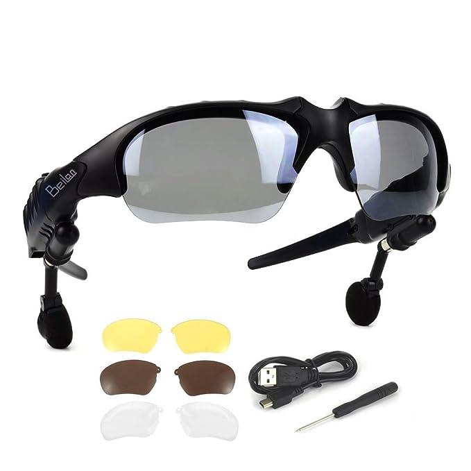 Bluetooth Gafas de sol con audífonos estéreo inalámbricos Auriculares con 4 pares de lentes Manos libres Reproductor de MP3 Llamada telefónica para ...