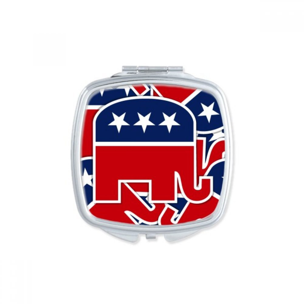 America The United States Elephant Emblem Republican Square Compact Makeup Pocket Mirror Portable Cute Small Hand Mirrors Gift