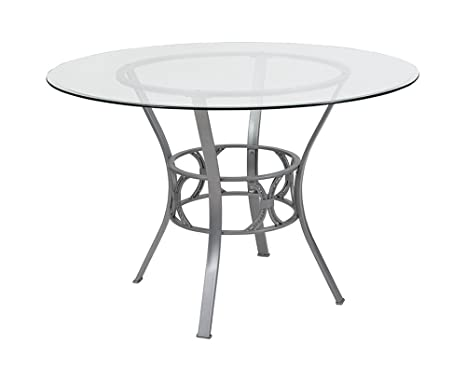 Amazoncom Offex 45 Round Glass Dining Table With Silver Metal