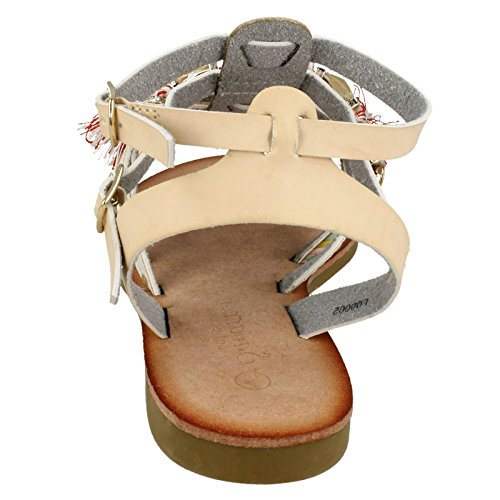 Beaded Beige Ladies Sandals Strappy Savannah Flat q8ntnY
