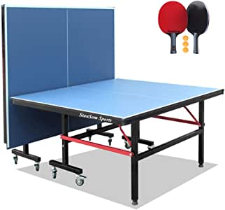 Stansom Foldable Table Tennis Tables with Quick Clamp Net and 2 Rackets 3 Balls, 40mm Legs Ping Pong Table, 10 Minute Easy Assembly - Indoor & Outdoor Compatible