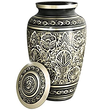 Funeral Urns Adult Ashes Large Memorial Urn – Cremation Urns for Human Ashes Adults or Dog Pet – Design is Hand Engraved in Brass – Burial at Home or in Niche at Columbarium Majestic Radiance