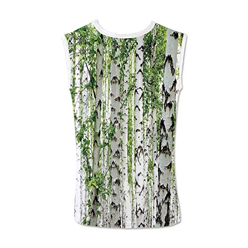 (Woodland Decor Comfortable Tank Top,Birch Trees in The Forest Summertime Wildlife Nature Themed Decorating Picture for Men,XL)