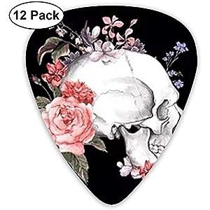 12er Pack Guitar Picks Kreatives Pink Roses Skull Design für einzigartige Gitarrenbässe E-Akustikgitarren