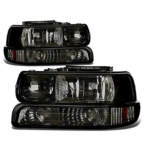 Chevy Chevrolet Silverado 2500 Grille - DNA Motoring HL-OH-CS99-4P-SM-AB Headlight Assembly, Driver and Passenger Side