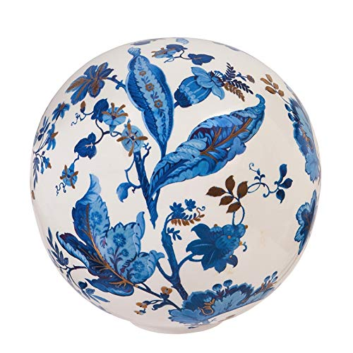 Evergreen Garden Embossed Blue and White Floral Ceramic Gazing Ball