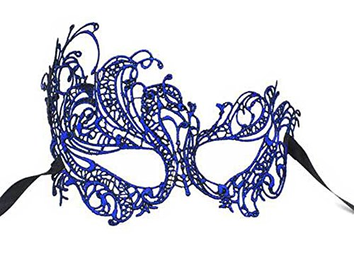 Blue Venetian Masquerade Mask (Flywife Lace Masquerade Ball Mask Venetian Swan Mardi Gras Halloween Costume Party Mask (A Royal Blue Swan))