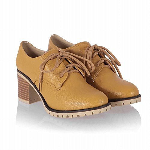 Charm Foot Womens Mid Chunky Heel Lace Up Casual Oxfords Shoes Yellow