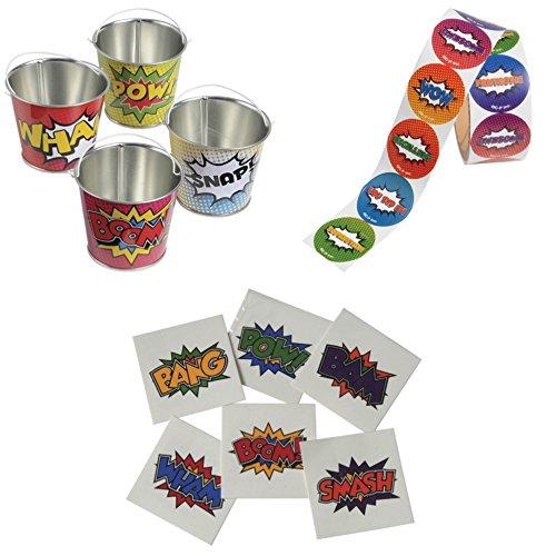 Super Hero Comic Book Themed Assorted Mini Metal Buckets, Stickers & Tattoos - 12 + 200 + 144 Pack -