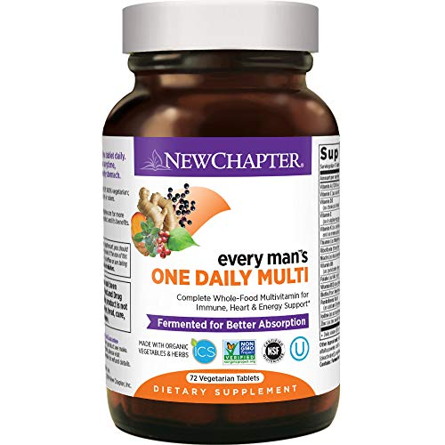 New Chapter Men's Multivitamin, Every Man's One Daily, Fermented with Probiotics + Selenium + B Vitamins + Vitamin D3 + Organic Non-GMO Ingredients - 72 ct (Packaging May Vary)
