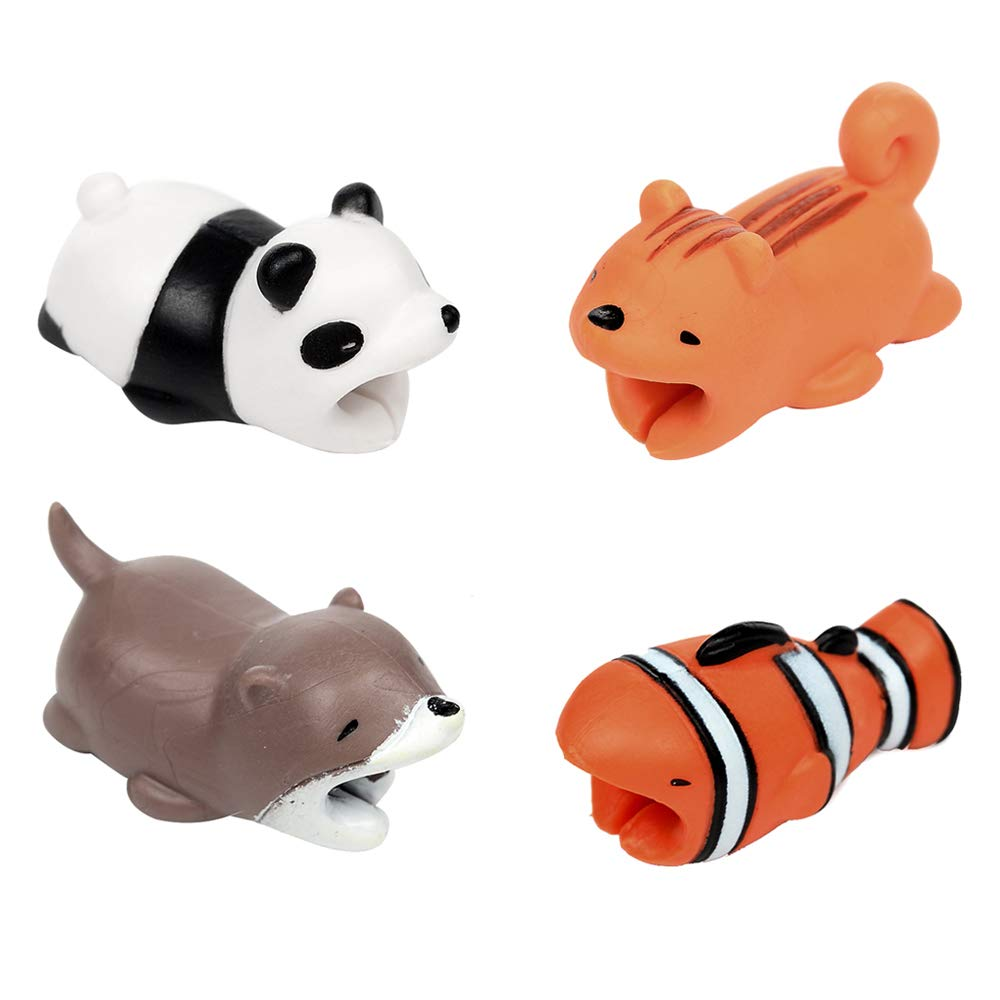 4-Pack Cable Bites Animals Protector Cable Bite Savers for iPhone Cable Bite Cord Data Line Protector Cute Animal Protects Cell Phone Accessories with iPhone Xs max, XR, X, XS, iPhone 6 6S 7 8, iPAD Bumina