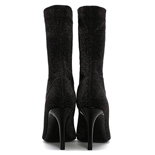 Daniel Afemini Black Metallic Stretch Sock Ankle Boots Black Metalic C0wDbc