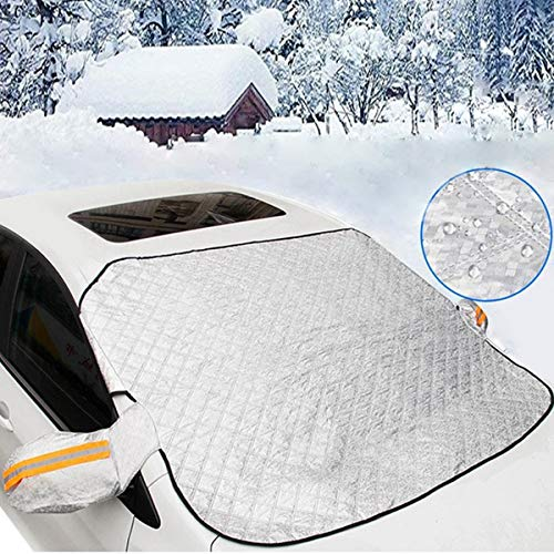 Car Windshield Snow Cover, Windshield Cover for Ice and Snow With 4 Layers Protector & Magnets Double Fixed Design All Weather Outdoor Car Snow Covers, Frost Cover Windshield Fits Any Car (white)