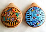 Two Large Peruvian Ocarina. Musical Instrument.gold and Blue.