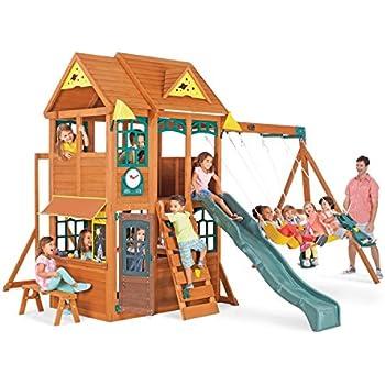 Amazon Com Kidkraft Brooksville Wooden Swing Set Toys Games