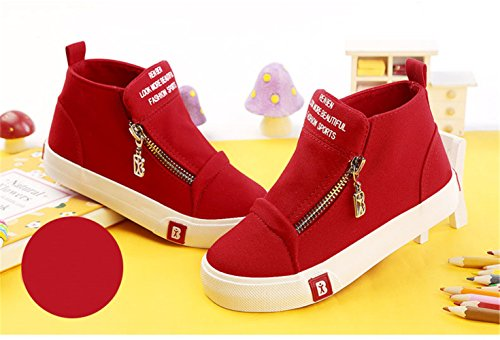 BENHERO Classic Kids Casual Comfort Zipper Lace Up High-Top Canvas Sneaker Shoes Trainers (Toddler/Little Kid/Big Kid) (4.5 M US Big Kid, 5129 Red) by BENHERO (Image #3)