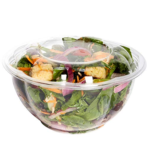 [50 Sets - 32 oz.] Plastic Salad Bowls To-Go With Airtight Lids, Salad - Soup Containers Styrofoam