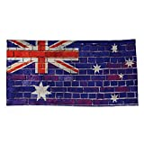 Society6 Beach Towel, Australia Flag on a Brick Wall by steveball, Polyester-Microfiber Front, White Cotton Terry Back