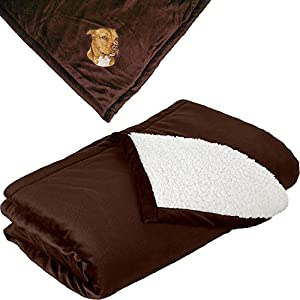 Cherrybrook Dog Breed Embroidered Mountain Lodge Reversible Blanket - Brown - American Staffordshire Terrier 2