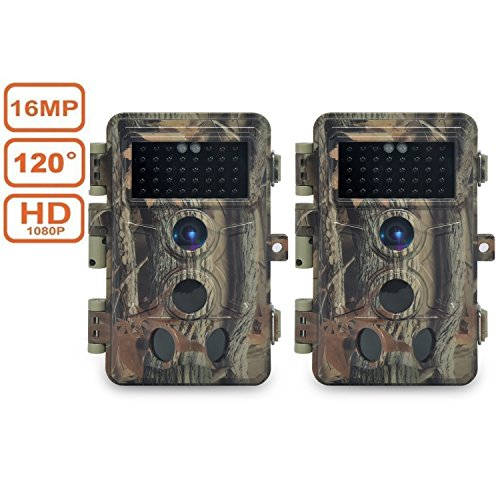 DIGITNOW Trail Camera 16MP 1080P HD Waterproof , Wildlife Hunting Scouting Game Camera with 40Pcs IR LED Infrared Night Vision Up to 65FT /20M , Surveillance Camera 130° Wide Angle 120° Detection by DIGITNOW
