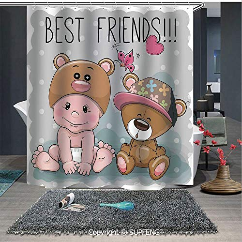 Interesting shower curtain Cute Cartoon Baby in a Bear Hat and a Teddy Bear with Butterflies Best Friends Print Decorative (72W x 72L Inch) Colorful,bold design, waterproof, Easy to care ,privacy prot