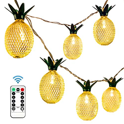 (Ezicok Pineapple String Lights, 20 LED 9.8 ft Waterproof Fairy String Lights Battery Operated for Home Wedding Party Bedroom Birthday Decoration)
