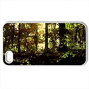 Autumn darkness - Case Cover for iPhone 4 and 4s (Forests Series, Watercolor style, White)