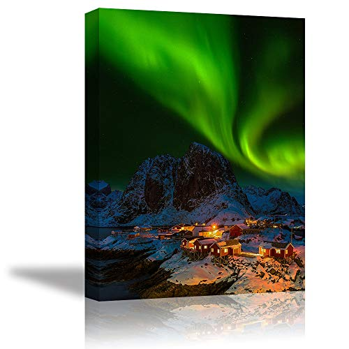 Aurora Wall Art Decor for Bedroom, PIY Beautiful Northern Lights Upon Quite Arctic Village at The North Pole Evening, Canvas Prints Picture Artwork (1