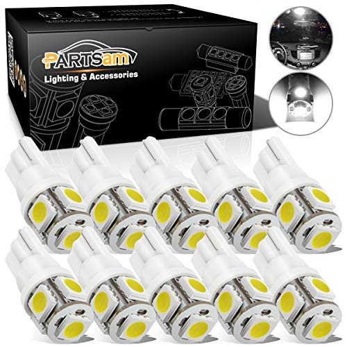 Partsam T10 168 194 LED Light Bulbs for Car Interior Dome Map Door Courtesy License Plate Lights-White 10Pcs