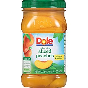 Dole Sliced Yellow Cling Peaches in 100% Fruit Juice, 23.5 Ounce Jar, All Natural Sliced Cling Peaches Packed in Fruit Juice, Naturally Gluten Free, Non-GMO, No Artificial Sweeteners