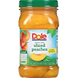 Dole Sliced Yellow Cling Peaches in 100% Fruit Juice, 23.5 Ounce Jar, All Natural Fruit, Sliced Cling Peaches Packed in Fruit Juice, Naturally Gluten Free, Non-GMO, No Artificial Sweeteners