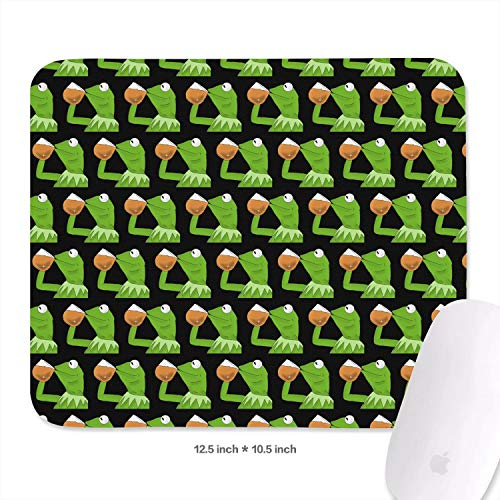Mens Students 27 x 32.1cm Funny-Green-Frog-Sipping-Tea-Wrist Rest with Black Non-Slip Rubber Base Premium-Textured 3mm Thick Cute Wireless Mouse Pad Mat for Laptops -