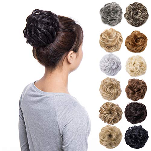 (Scrunchy Updo Wavy Straight Hair Bun Clip Messy Donut Chignons Synthetic Hairpiece Hair Extension (brownish black-thicker))