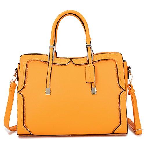 Orange Leather Handbag - 9