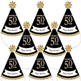 Big Dot of Happiness Adult 50th Birthday - Gold - Mini Cone Birthday Party Hats - Small Little Party Hats - Set of 8