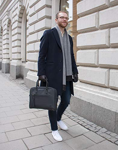 The Friendly Swede 13 inch Slim Laptop Bag for Women and Men - Shoulder Strap, Minimalist Notebook Executive Computer Case Business Briefcase, Vegan PU - VRETA by The Friendly Swede (Image #7)
