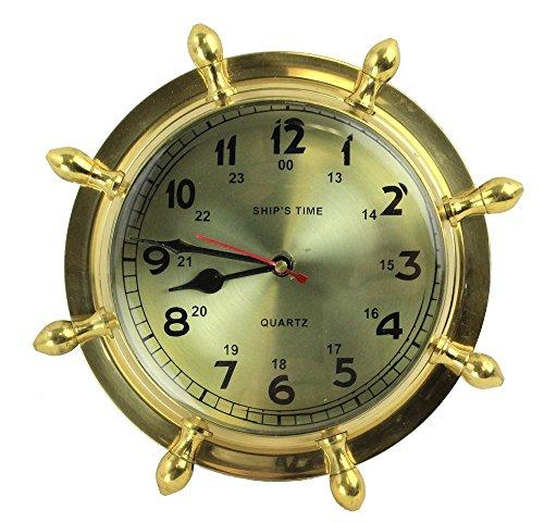 "9"" Brass Lacquered Ship's Wheel Clock - Hanging Wall Decor (Clock Ship Wheel Captains)"