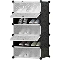 Styleys Plastic Shoe Rack with Cover for Home/Office Cube Organizer Wardrobe Black