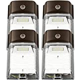LED Wall Pack Light 26w 3200lm(Photocell Included),120-277V 5000K Daylight cETLus-Listed Dusk to Dawn 150-250W MH/Hps Replacement, Outdoor/Entrance Security Light (5-Year Warranty)(5000K) 26W 4PK