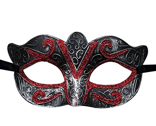 Vegas Halloween Ball (Outgeek Unisex Vintage Venice Halloween Costume Masquerade Masks Half Face Mask(Silver and)