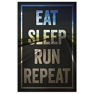 Damdekoli Eat Sleep Run Poster for Runners, 11 x 17 Inches, Cross Country Print, Track and Field Art