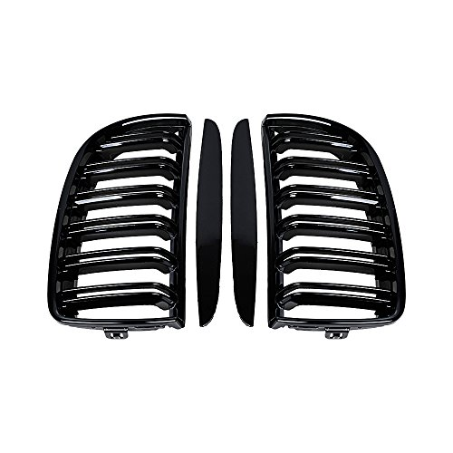 Astra Depot Pair Euro Front Hood Kidney Grille Compatible with E90 323i 325xi 330i 328i 328xi 335i 335xi Pre-Facelift (Double Line, Glossy Black)